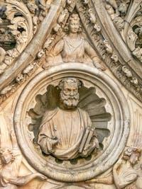 Buste de Saint-Marc, Porta della Carta, par Giovanni et Bartolomeo Bon, Palais des Doges de Venise