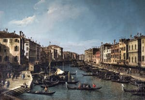 Canaletto,Le Grand Canal vu du Pont du Rialto vers la Ca' Foscari à Venise, Galerie Nationale Barberini à Rome