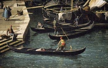 Canaletto,Le Grand Canal vu du Pont du Rialto vers la Ca' Foscari à Venise, bateliers Pescaria San Bartolomeo, Galerie Nationale Barberini à Rome