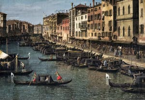 Canaletto,Le Grand Canal vu du Pont du Rialto vers la Ca' Foscari à Venise, le Grand Canal et la Riva del Vin, Galerie Nationale Barberini à Rome