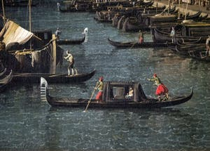Canaletto,Le Grand Canal vu du Pont du Rialto vers la Ca' Foscari à Venise, gondole de Casada, Galerie Nationale Barberini à Rome