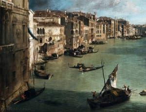 Canaletto, Le Grand Canal vu du palais Balbi jusqu'au pont du Rialto, bateaux et gondoles sur le Grand Canal, à la Ca' Rezzonico à Venise