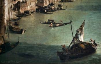 Canaletto, Le Grand Canal vu du palais Balbi jusqu'au pont du Rialto, bateau à voiles et gondoles et gondoles sur le Grand Canal, à la Ca' Rezzonico à Venise