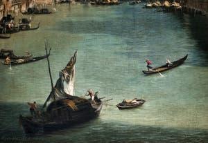 Canaletto, Le Grand Canal vu du palais Balbi jusqu'au pont du Rialto, bateau à voiles, bateaux et gondoles et gondoles sur le Grand Canal, à la Ca' Rezzonico à Venise