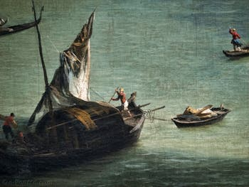 Canaletto, Le Grand Canal vu du palais Balbi jusqu'au pont du Rialto, bateau à voiles sur le Grand Canal, à la Ca' Rezzonico à Venise