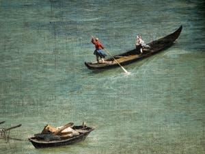 Canaletto, Le Grand Canal vu du palais Balbi jusqu'au pont du Rialto, bateau à rames sur le Grand Canal, à la Ca' Rezzonico à Venise