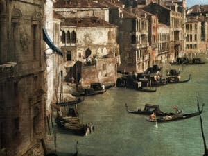 Canaletto, Le Grand Canal vu du palais Balbi jusqu'au pont du Rialto, gondoles et palais duGrand Canal, à la Ca' Rezzonico à Venise