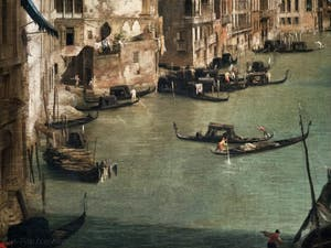 Canaletto, Le Grand Canal vu du palais Balbi jusqu'au pont du Rialto, gondoles et palais du Grand Canal, à la Ca' Rezzonico à Venise