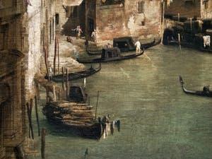 Canaletto, Le Grand Canal vu du palais Balbi jusqu'au pont du Rialto, barque et gondoles sur le Grand Canal, à la Ca' Rezzonico à Venise