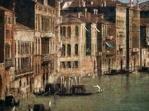 Canaletto, Le Grand Canal vu du palais Balbi jusqu'au pont du Rialto, gondole et Palais du Grand Canal, à la Ca' Rezzonico à Venise