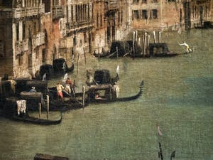 Canaletto, Le Grand Canal vu du palais Balbi jusqu'au pont du Rialto, gondoles sur le Grand Canal, à la Ca' Rezzonico à Venise