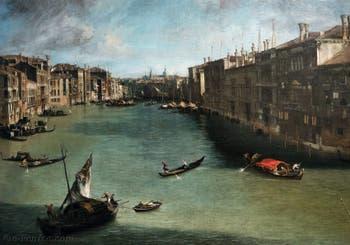 Canaletto, Le Grand Canal vu du palais Balbi jusqu'au pont du Rialto, à la Ca' Rezzonico à Venise