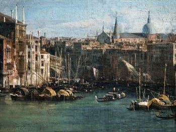 Canaletto, Le Grand Canal vu du palais Balbi jusqu'au pont du Rialto, le pont du Rialto et la Basilique San Giovanni e Paolo, à la Ca' Rezzonico à Venise