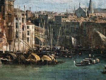 Canaletto, Le Grand Canal vu du palais Balbi jusqu'au pont du Rialto, bateaux devant le pont du Rialto, à la Ca' Rezzonico à Venise