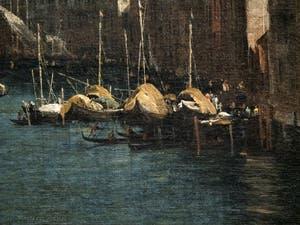 Canaletto, Le Grand Canal vu du palais Balbi jusqu'au pont du Rialto, bateaux à voiles et gondoles, à la Ca' Rezzonico à Venise