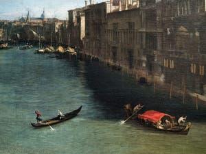 Canaletto, Le Grand Canal vu du palais Balbi jusqu'au pont du Rialto, bateaux et palais du Grand Canal, à la Ca' Rezzonico à Venise