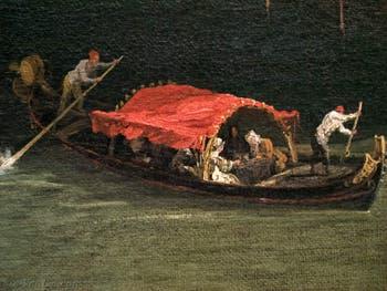 Canaletto, Le Grand Canal vu du palais Balbi jusqu'au pont du Rialto, Peata rouge sur le Grand Canal, à la Ca' Rezzonico à Venise