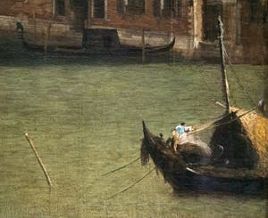 Canaletto, Le Grand Canal vu du palais Balbi jusqu'au pont du Rialto, bateau sur le Grand Canal, à la Ca' Rezzonico à Venise