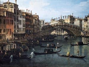 Canaletto, Le Grand Canal de Venise et le Pont du Rialto vu du Sud, la Riva del Vin, Galerie Nationale Barberini à Rome