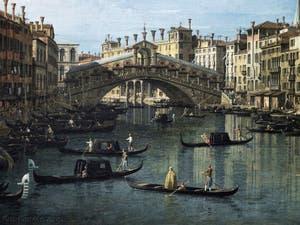 Canaletto, Le Grand Canal de Venise et le Pont du Rialto vu du Sud, gondoles devant le pont du Rialto, Galerie Nationale Barberini à Rome