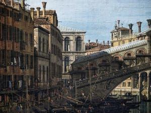 Canaletto, Le Grand Canal de Venise et le Pont du Rialto vu du Sud, la Riva del Vin et le pont du Rialto, Galerie Nationale Barberini à Rome