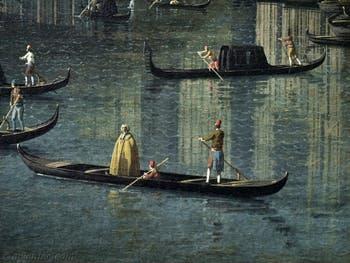 Canaletto, Le Grand Canal de Venise et le Pont du Rialto vu du Sud, gondole sur le Grand Canal, Galerie Nationale Barberini à Rome