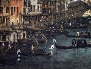 Canaletto, Le Grand Canal de Venise et le Pont du Rialto vu du Sud, gondoles et bateaux Riva del Vin, Galerie Nationale Barberini à Rome