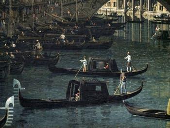 Canaletto, Le Grand Canal de Venise et le Pont du Rialto vu du Sud, gondoles et bateaux Grand Canal, Galerie Nationale Barberini à Rome