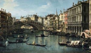 Canaletto, Le Grand Canal de Venise et le Pont du Rialto vu du Sud, gondoles sur le Grand Canal devant la Riva del Carbon, Galerie Nationale Barberini à Rome