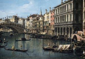 Canaletto, Le Grand Canal de Venise et le Pont du Rialto vu du Sud, gondoles et bateaux sur le Grand Canal devant la Riva del Carbon, Galerie Nationale Barberini à Rome