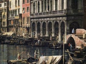 Canaletto, Le Grand Canal de Venise et le Pont du Rialto vu du Sud, bateaux devant la Riva del Carbon, Galerie Nationale Barberini à Rome