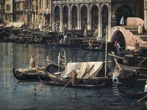 Canaletto, Le Grand Canal de Venise et le Pont du Rialto vu du Sud, bateaux devant la Riva del Carbon et le pont Manin Dolfin, Galerie Nationale Barberini à Rome