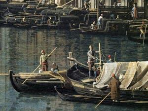 Canaletto, Le Grand Canal de Venise et le Pont du Rialto vu du Sud, bateaux sur le Grand Canal, Galerie Nationale Barberini à Rome