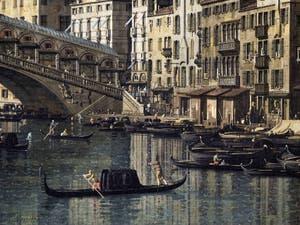 Canaletto, Le Grand Canal de Venise et le Pont du Rialto vu du Sud, bateaux et gondoles le long de la Riva del Carbon, Galerie Nationale Barberini à Rome
