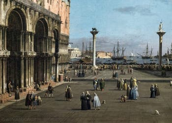 Canaletto, La Piazzetta avec la Basilique Saint-Marc et la Bibliothèque Marciana, Galerie Nationale Barberini à Rome