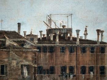 Canaletto, La Vue du Rio dei Mendicanti, le linge sur les toits dei Mendicanti, à la Ca' Rezzonico à Venise