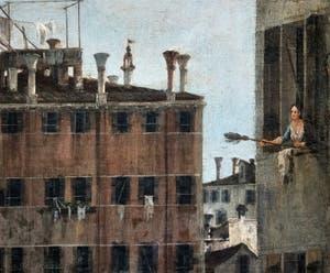 Canaletto, La Vue du Rio dei Mendicanti, Vénitienne à sa fenêtre, à la Ca' Rezzonico à Venise