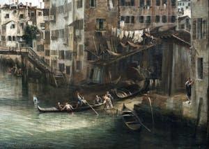 Canaletto, La Vue du Rio dei Mendicanti, le Squero sur le Rio dei Mendicanti, à la Ca' Rezzonico à Venise