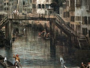 Canaletto, La Vue du Rio dei Mendicanti, le pont de bois du Rio dei Mendicanti, à la Ca' Rezzonico à Venise
