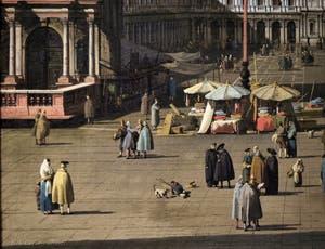 Canaletto, La Place Saint-Marc et les Procuraties vues depuis la Basilique, les Vénitiens devant le Campanile de Saint-Marc, Galerie Nationale Barberini à Rome