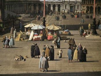 Canaletto, La Place Saint-Marc et les Procuraties vues depuis la Basilique, les étals sur la Place Saint-Marc, Galerie Nationale Barberini à Rome