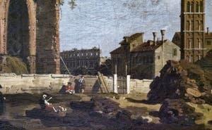 Canaletto, Vue du Forum avec la Basilique de Maxence et Constantin et l'église Santa Francesca Romana, Galerie Borghèse à Rome