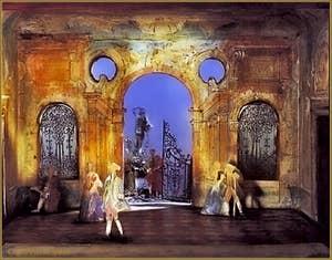"""Maquette de décor de théâtre pour le """"Casanova"""" d'Hofmannstahl avec différents éclairages, en 1908"""