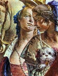 Giambattista Tiepolo, Antoine et Cléopâtre, Palazzo Labia, figures de femmes