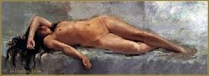 Nu étendu 1888, première œuvre connue de Mariano Fortuny