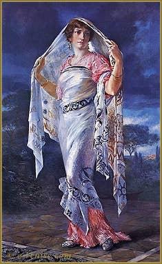 """Mariano Fortuny : Portrait d'Henriette en 1935, drapée dans un châle de soie imprimée """"Knossos"""""""
