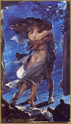 La Walkyrie : l'étreinte de Siegmund et Sieglinde, toile de Mariano Fortuny de 1928