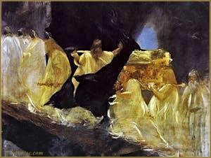 Toile de Mariano Fortuny, Parsifal de Richard Wagner : les funérailles de Titurel