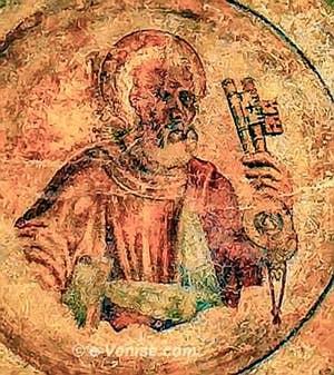 Fresque sur une clé de voûte Rialto Vecchio o Parangon à Venise