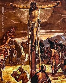 Détail de la Crucifixion du Tintoret à la Scuola Grande di San Rocco à Venise